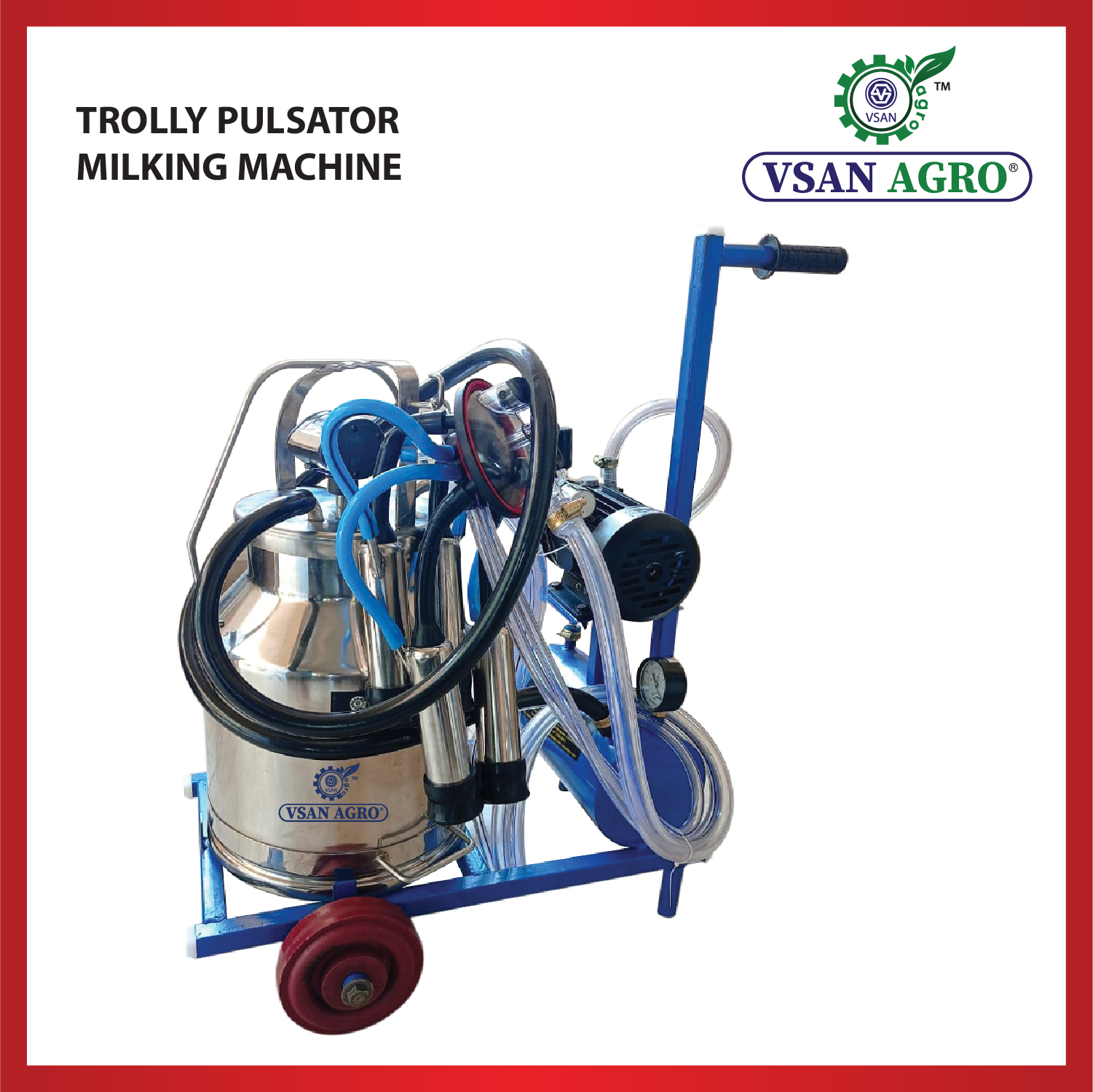 Pulsator  Milking Machine with Trolley