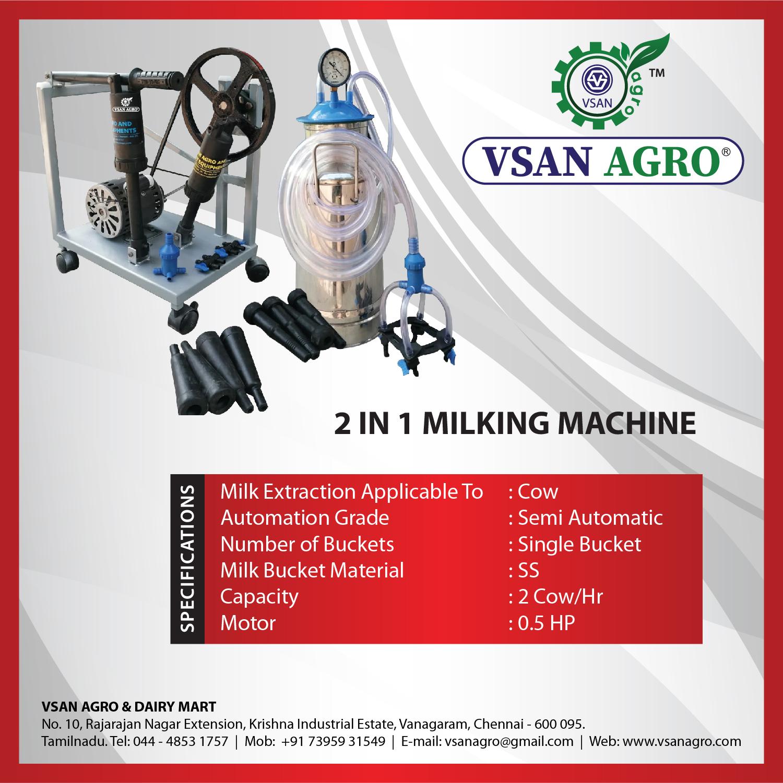 Vsan Agro 2 In 1 Milking Machine