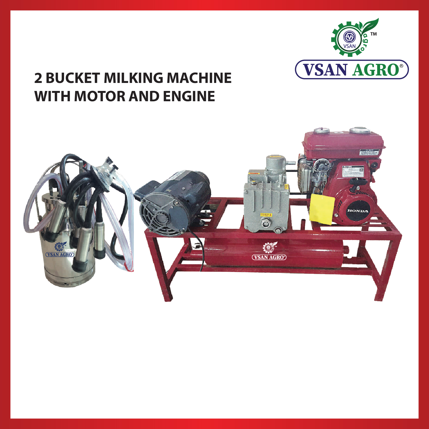 2 Bucket milking machine with engine and motor